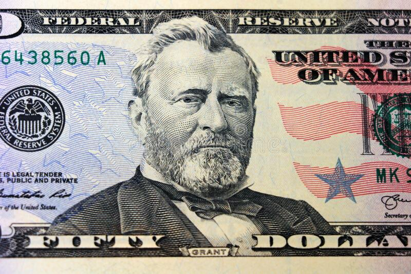 A US Fifty 50 Dollar Bill close up of Gran stock images
