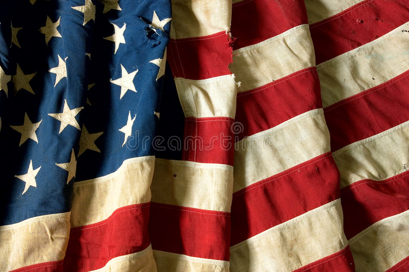 US Flag. 48 states flag, ripped and torn stock photos