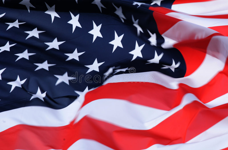 US flag. In the wind royalty free stock photo