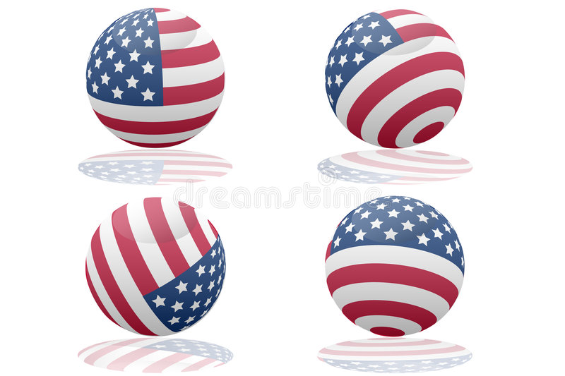 US flag. Four flags of the USA in 3d. Each US flag ball has reflection and is realistic stock illustration