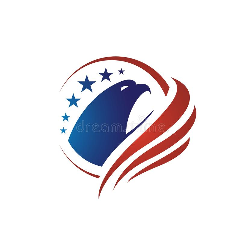 us flag american eagle head logo vector design concept illustrations vector illustration
