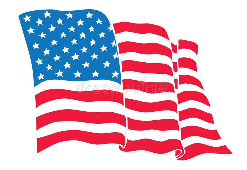 US Flag (American Flag) flowing waving stock illustration