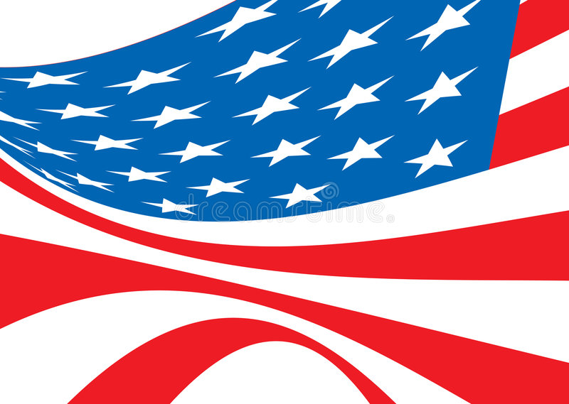 Us flag bellow. American flag bellowing in the wind in red white and blue royalty free illustration