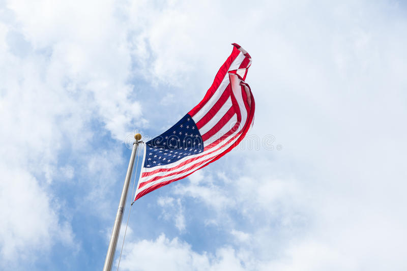 Us Flag On Blue Sky With Clouds Free Public Domain Cc0 Image