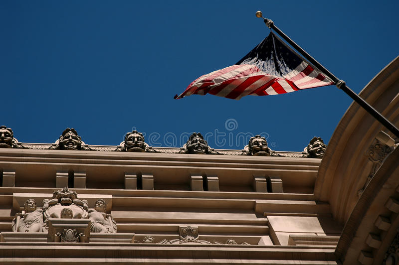 US Flag On A Building Royalty Free Stock Image