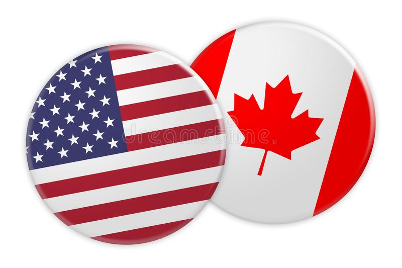 US Flag Button On Canada Flag Button, 3d illustration on white background. Politics News Concept: US Flag Button On Canada Flag Button, 3d illustration on white stock illustration