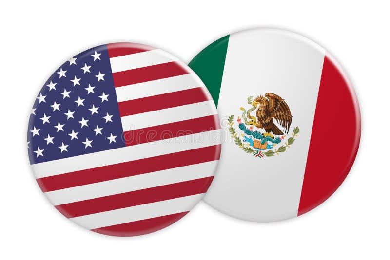 US Flag Button On Mexico Flag Button, 3d illustration on white background. Politics News Concept: US Flag Button On Mexico Flag Button, 3d illustration on white vector illustration