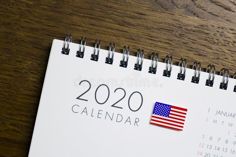 US Flag on 2020 Calendar royalty free stock image