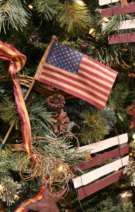 US Flag Christmas Ornament stock image