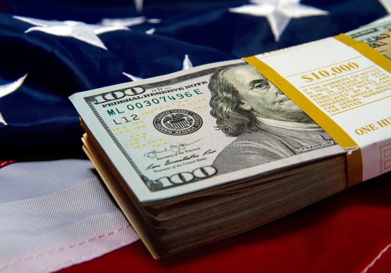 Us flag dollars royalty free stock photography