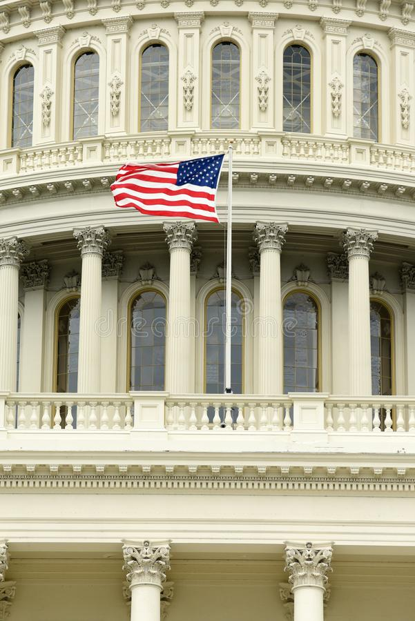 US flag on the dome of United States Capitol Building.  royalty free stock photography