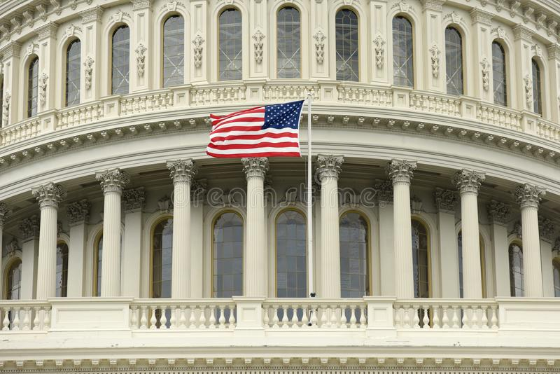 US flag on the dome of United States Capitol Building.  royalty free stock images