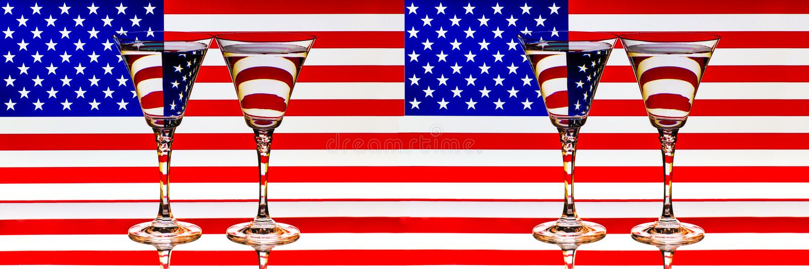US Flag Double Glasses Reflection July 4th Memorial Day Banner stock image