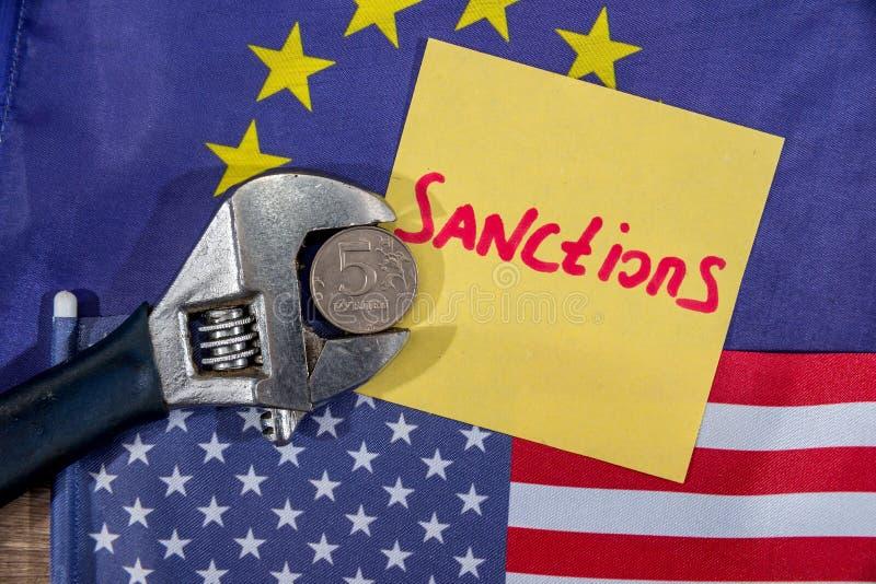 US flag. European community flag. Sanctions of russian stock photos