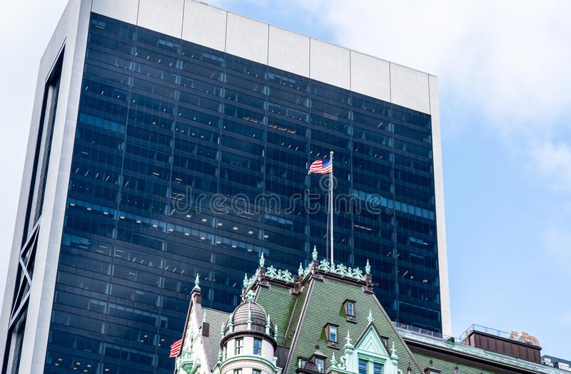 Contrast between old and new buildings in New York stock photos