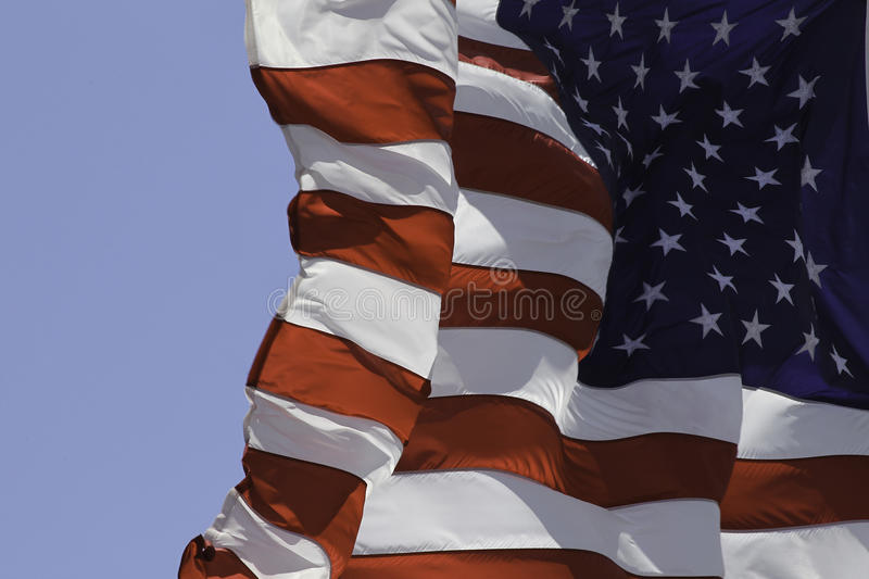 US Flag. Fluttering in the wind stock images