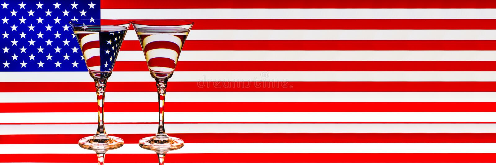 US Flag Glasses Reflection July 4th Memorial Day Banner royalty free stock image