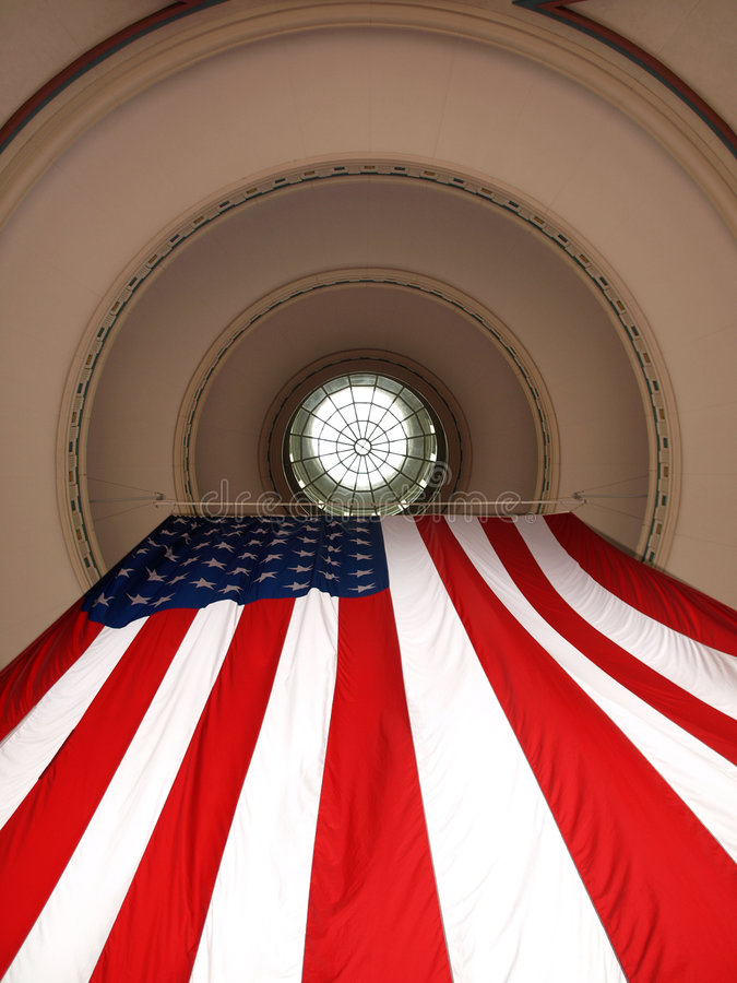 Download US Flag Hanging from Dome stock image. Image of perspective - 5953045