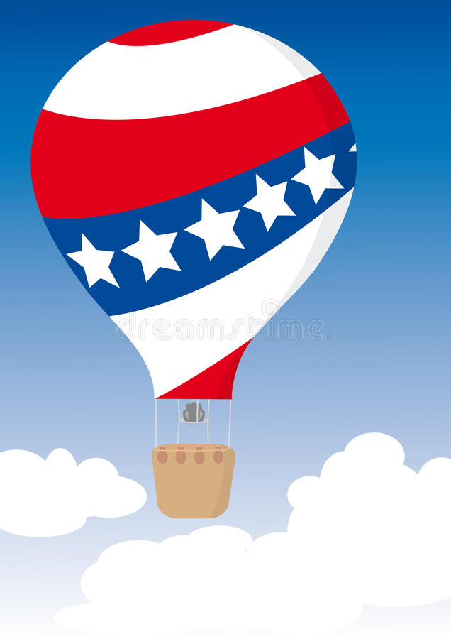 US Flag Hot Air Balloon for Independence Day stock illustration