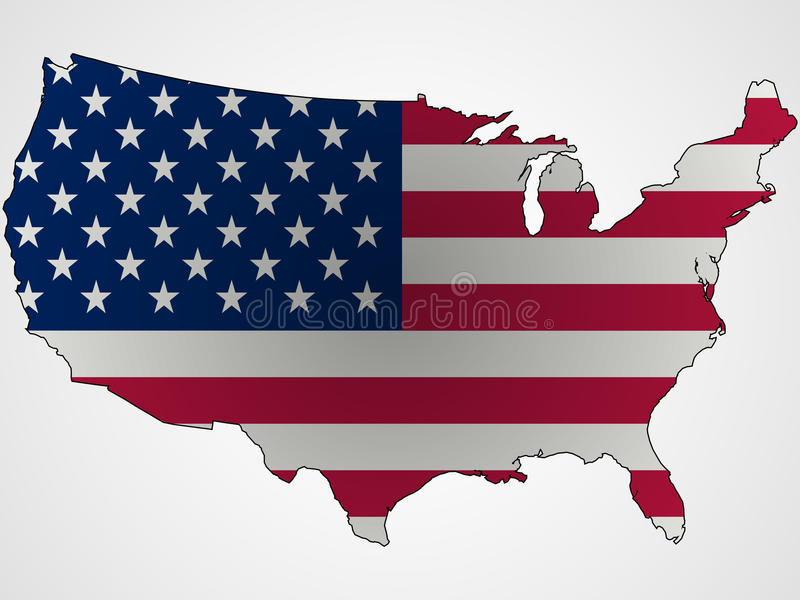 Us flag and map abstract. Unique vector art illustration vector illustration