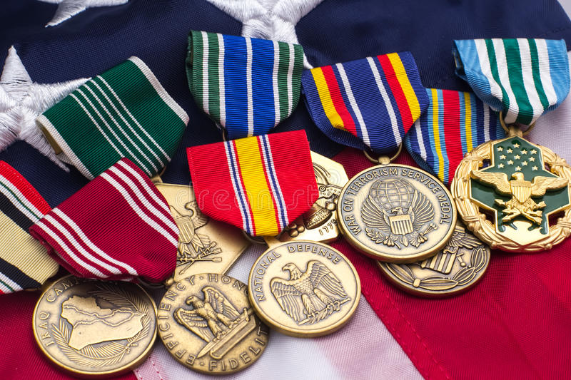 US Flag Military Medals. Laid on top stock photos