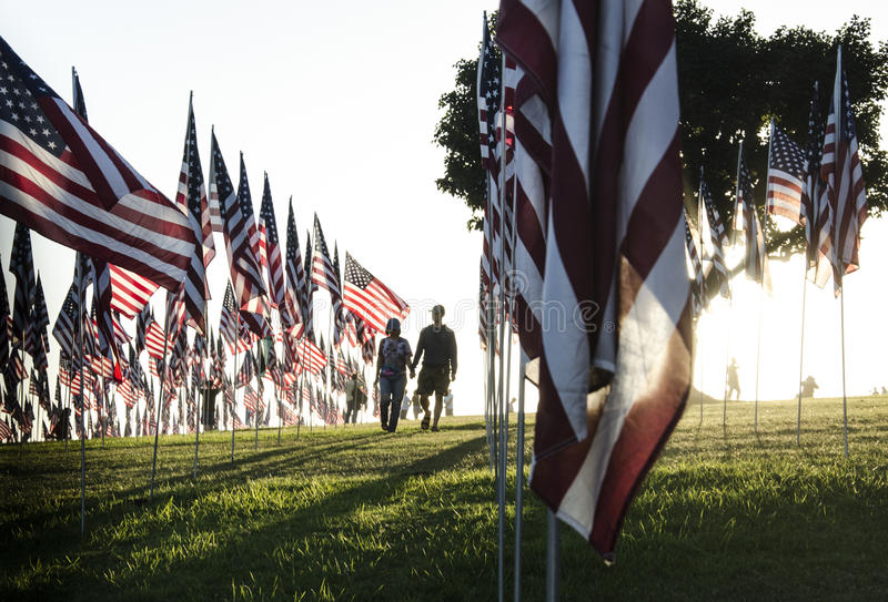 US Flag monument of 11th September in Malibu. Hundreds of United States of America Flags in Malibu, California to honor victims of the terrorist attack on royalty free stock photography