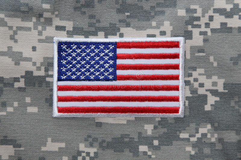 US flag patch on solder uniform royalty free stock photo