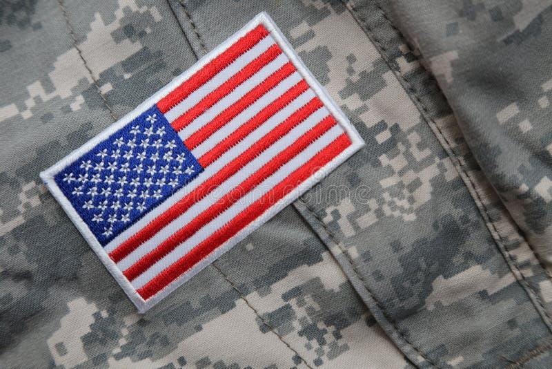 US flag patch on solders uniform stock images