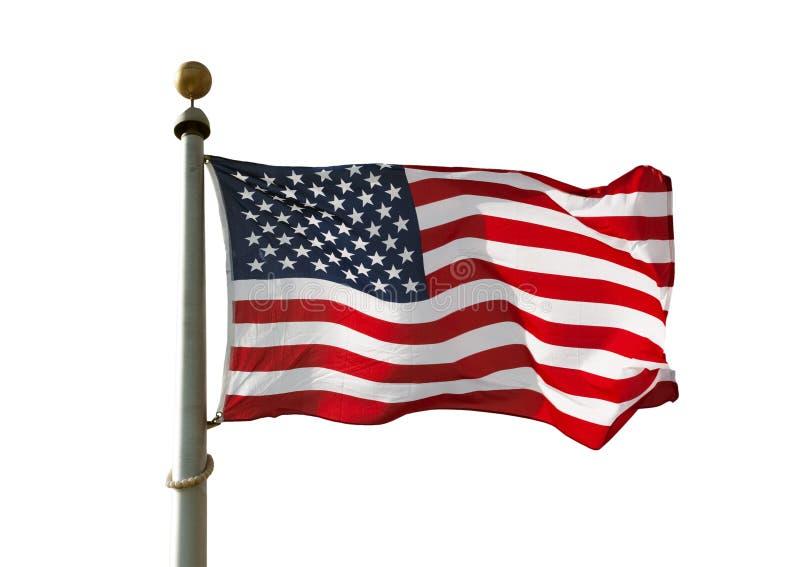 US Flag on Pole isolated stock photo
