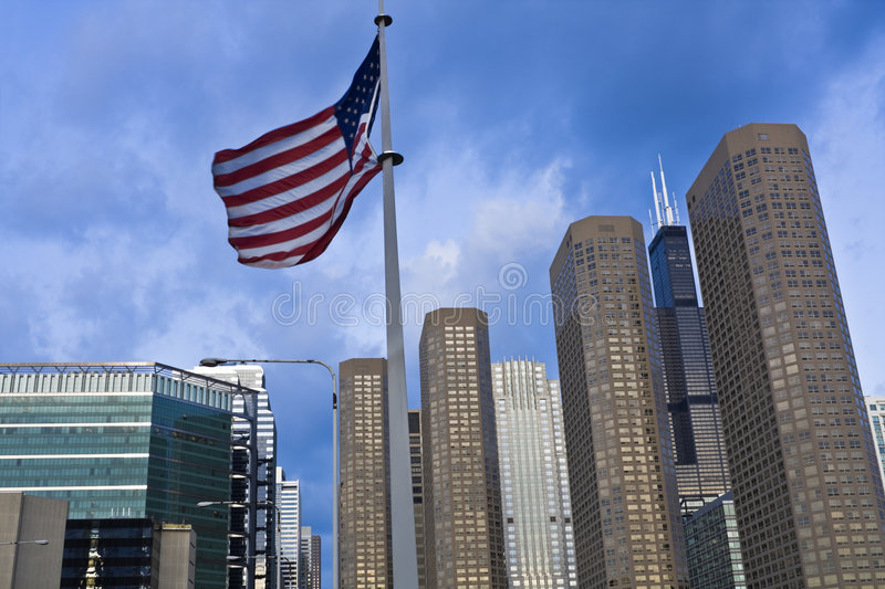 US flag and Presidential Towers royalty free stock image