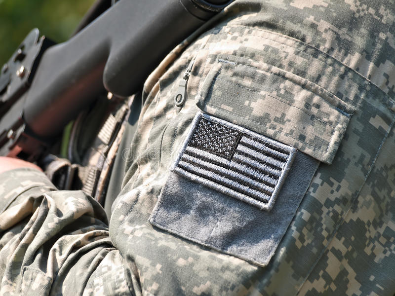 US flag sleeve patch royalty free stock photo