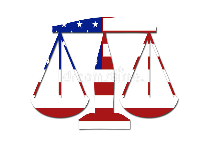 US flag weights and balances symbol. Logo on a solid background royalty free illustration