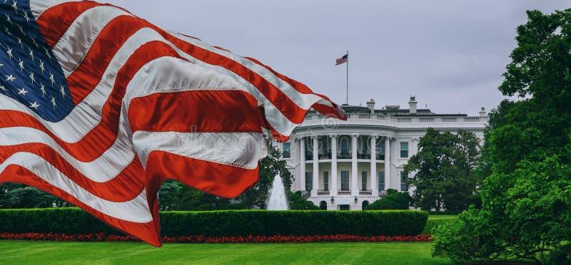 The White House - Washington DC United States. US flag White House - Washington DC United States stock photo