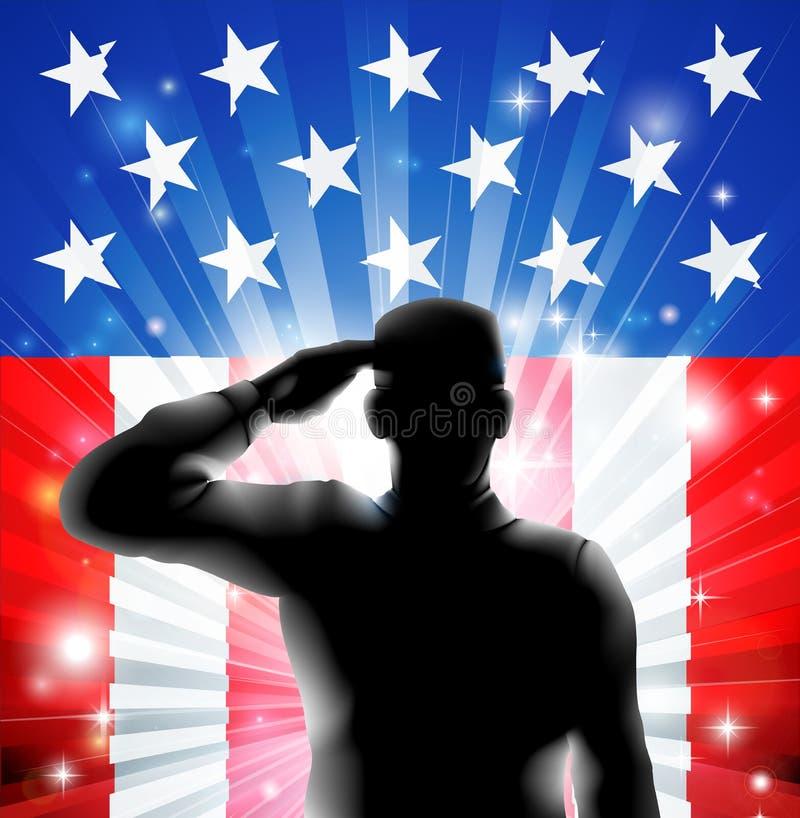 US-Flaggenmilitärsoldat, der im Schattenbild begrüßt lizenzfreie abbildung
