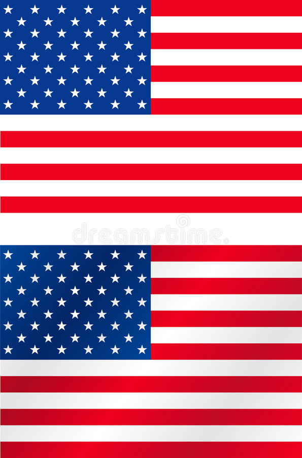 US flags. Acurate and brushed USA flags