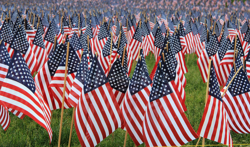 US flags in a memorial royalty free stock photography