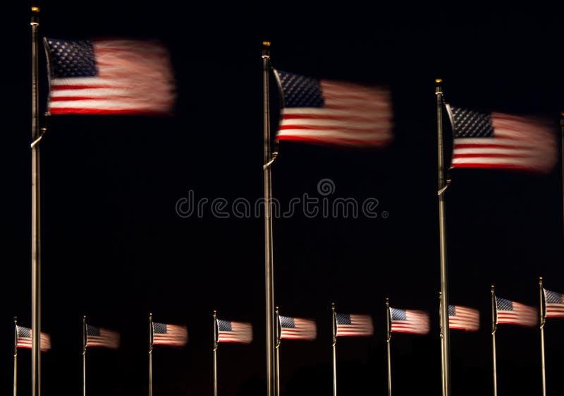 US Flags at Night royalty free stock photo