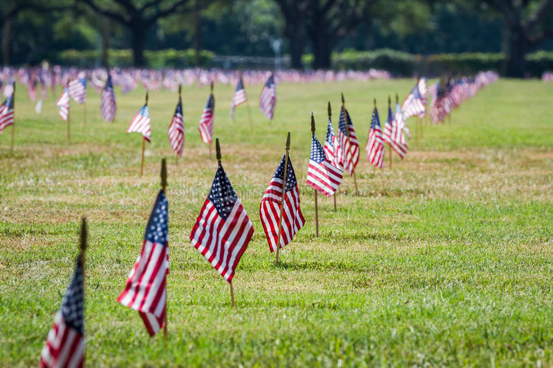 Us flags in a veterans cemetery on Veterans day. Rows of flags on each grave of a Veterans Cemetery in Florida for Veterans day stock images