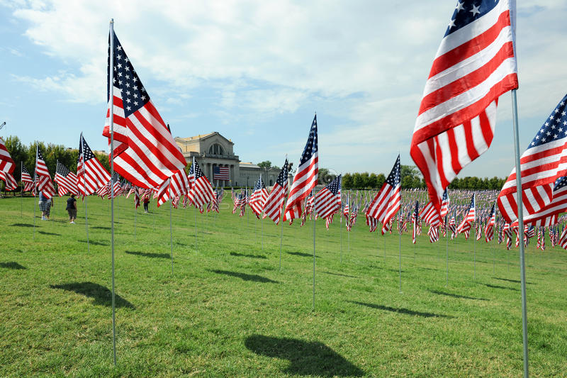 US Flags Waving outside the Saint Louis Art Museum stock photo