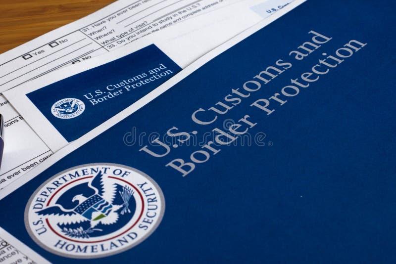 US-Gewohnheiten und Grenzschutz lizenzfreies stockbild