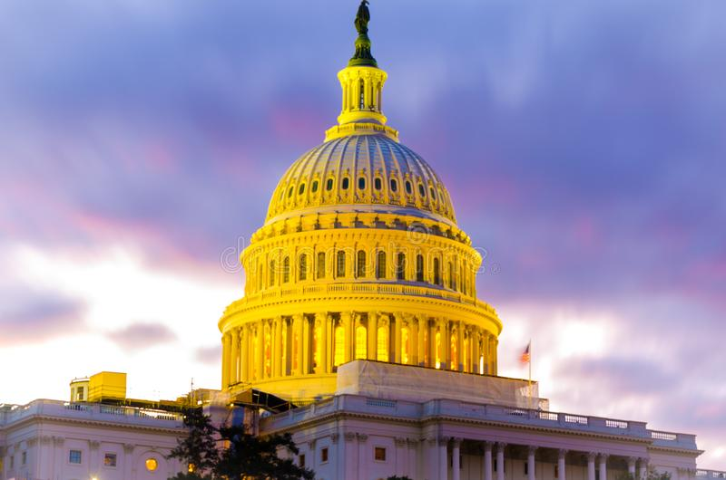 Dome of US Congress Senate Capitol Hill building in the sunset evening. US government house capitol hill Washington DC dome white building royalty free stock images