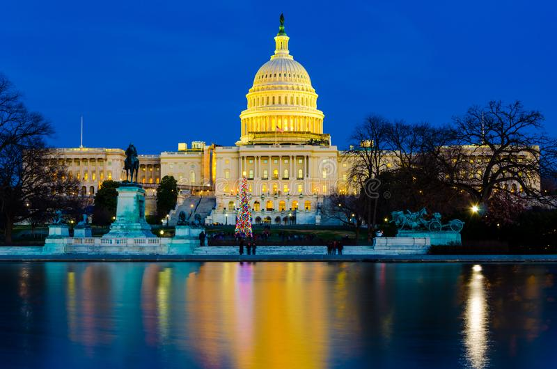 Dome of US Congress Senate Capitol Hill building in the sunset evening. US government house capitol hill Washington DC dome white building royalty free stock photos
