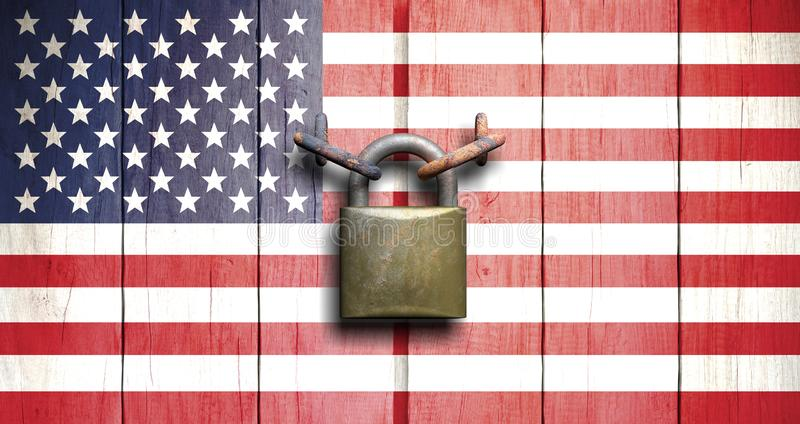 Government shutdown. US flag on wooden door closed with padlock. 3d illustration royalty free stock image