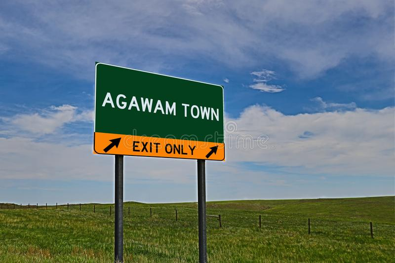 US Highway Exit Sign for Agawam Town. Agawam Town composite Image `EXIT ONLY` US Highway / Interstate / Motorway Sign royalty free stock photography