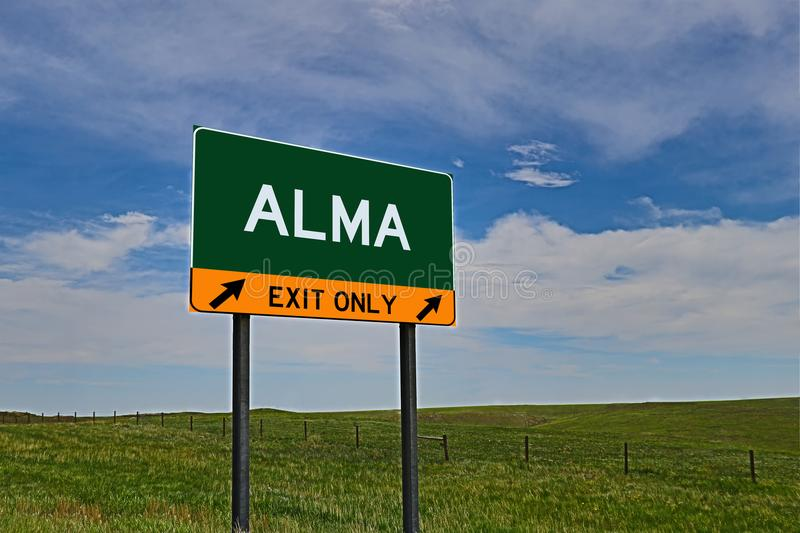 US Highway Exit Sign for Alma. Alma composite Image `EXIT ONLY` US Highway / Interstate / Motorway Sign royalty free stock image
