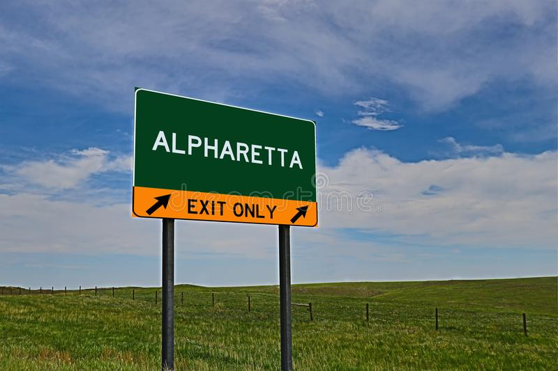 US Highway Exit Sign for Alpharetta. Alpharetta composite Image `EXIT ONLY` US Highway / Interstate / Motorway Sign stock photo