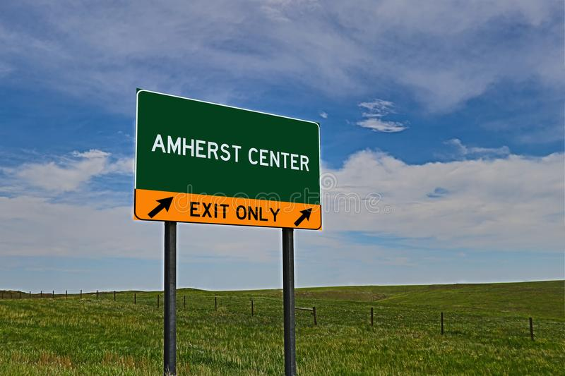 US Highway Exit Sign for Amherst Center. Amherst Center composite Image `EXIT ONLY` US Highway / Interstate / Motorway Sign royalty free stock photo