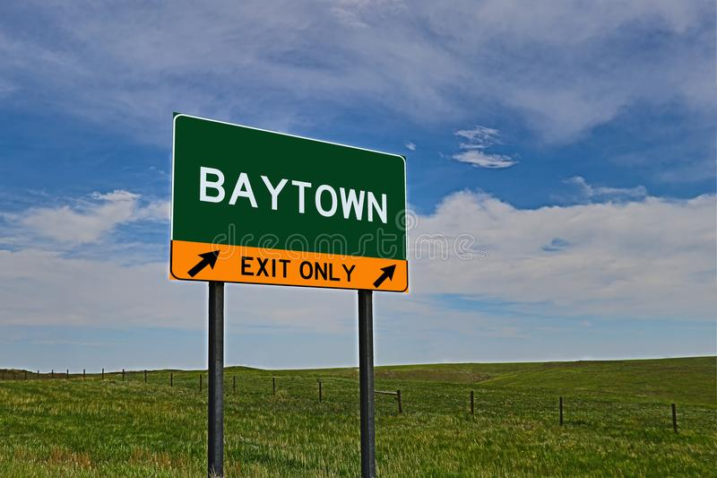 US Highway Exit Sign for Baytown. Baytown `EXIT ONLY` US Highway / Interstate / Motorway Sign stock images