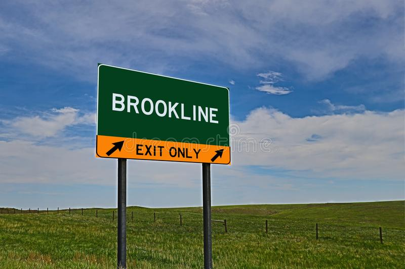 US Highway Exit Sign for Brookline. Brookline `EXIT ONLY` US Highway / Interstate / Motorway Sign stock photography