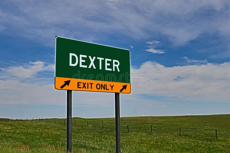 US Highway Exit Sign for Dexter. Dexter `EXIT ONLY` US Highway / Interstate / Motorway Sign royalty free stock photography